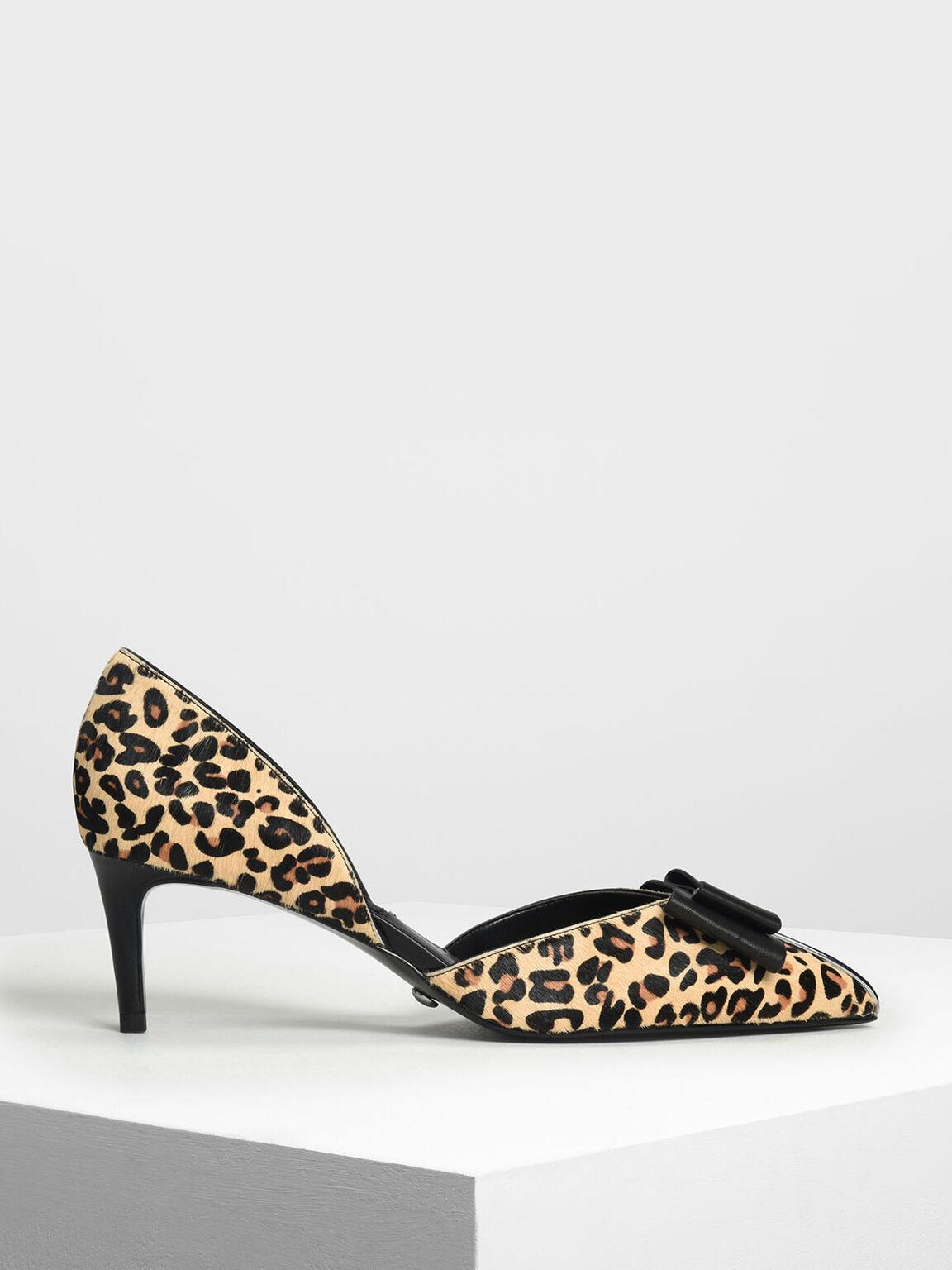 豹紋蝴蝶結跟鞋, 混色, hi-res