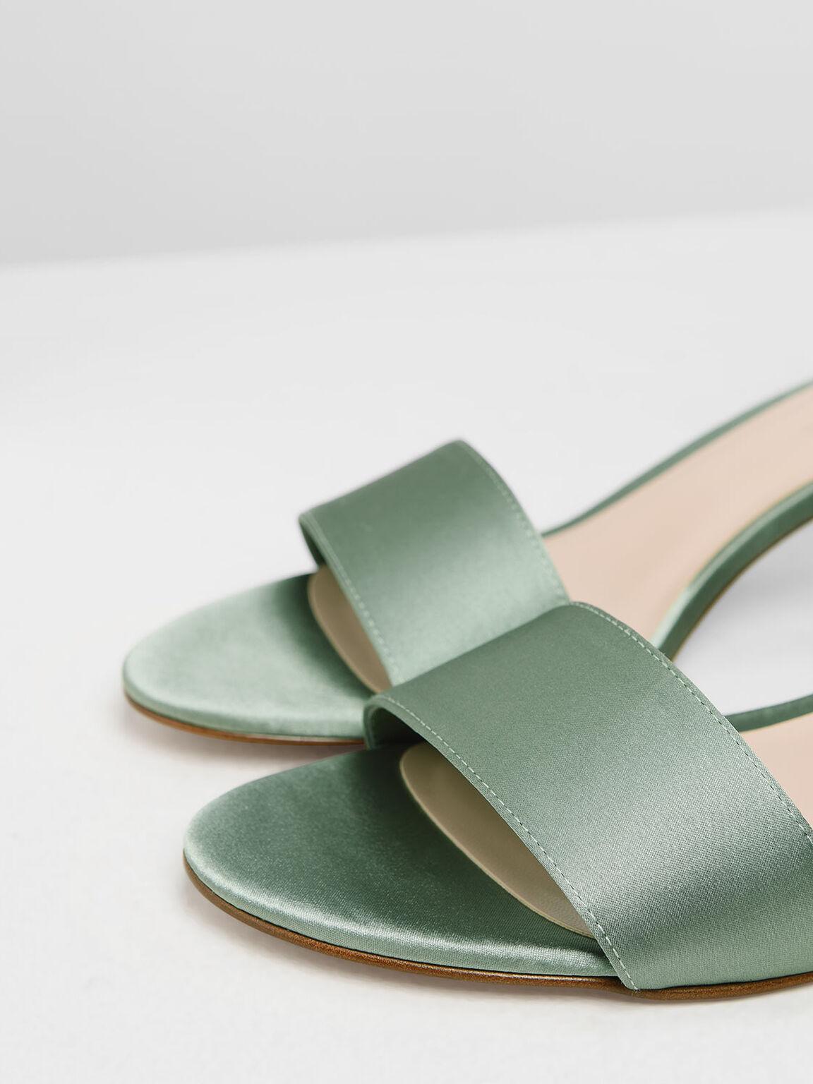 Satin Block Heel Sandals, Green, hi-res