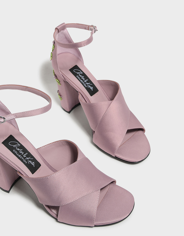 Embellished Block Heel Satin Sandals