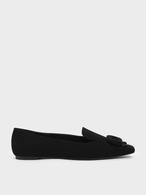 Oversized Buckle Loafers, Black, hi-res