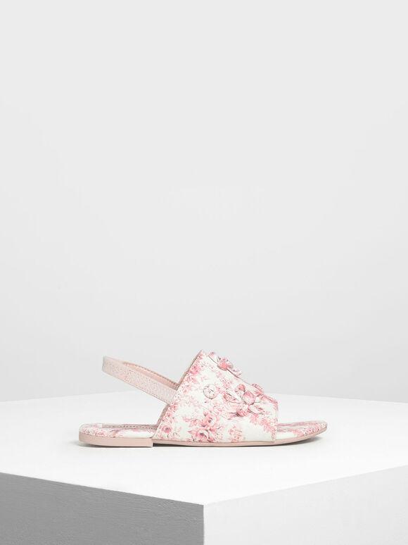 兒童立體花朵涼鞋, 粉紅色, hi-res