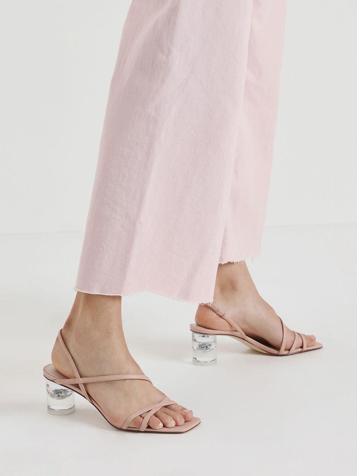 透明圓跟綁帶涼鞋, 膚色, hi-res