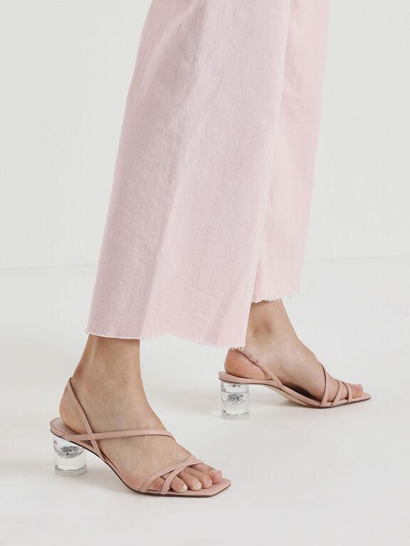 Asymmetric Strap Lucite Heel Sandals, Nude