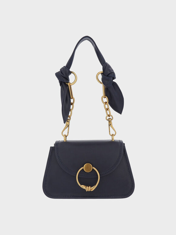 Ring Push-Lock Knotted Trapeze Bag, Navy, hi-res