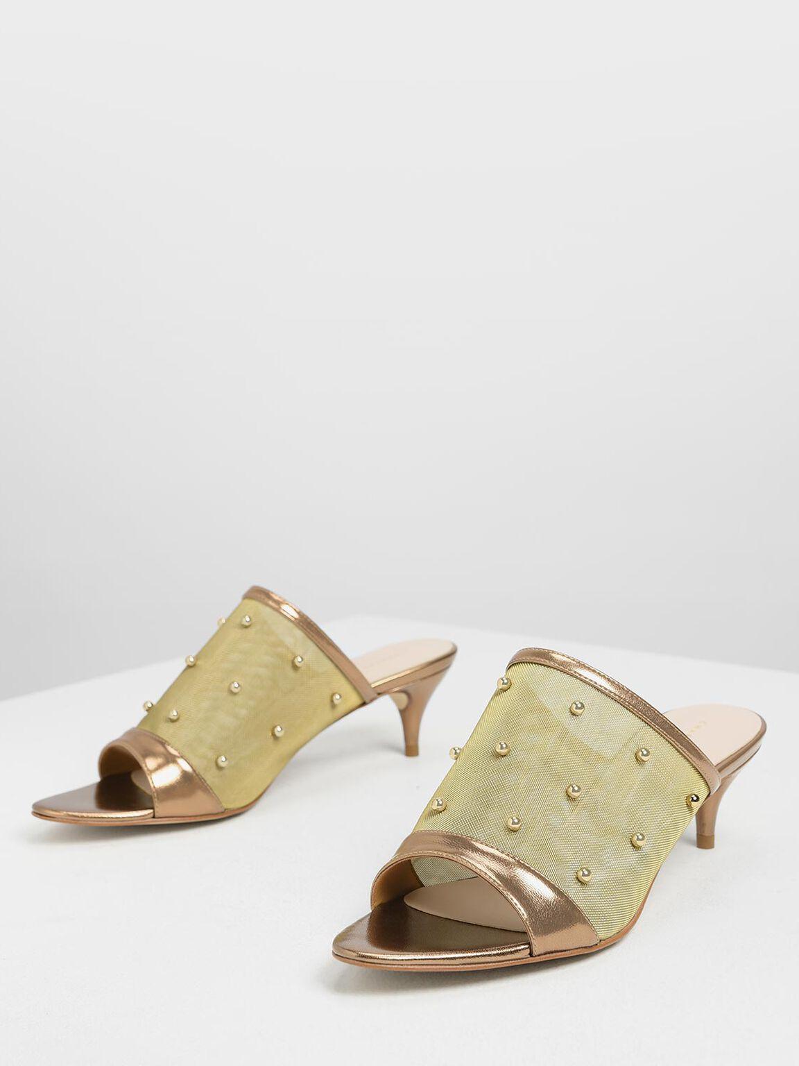 Embellished Mesh Kitten Heel Slide Sandals, Bronze, hi-res