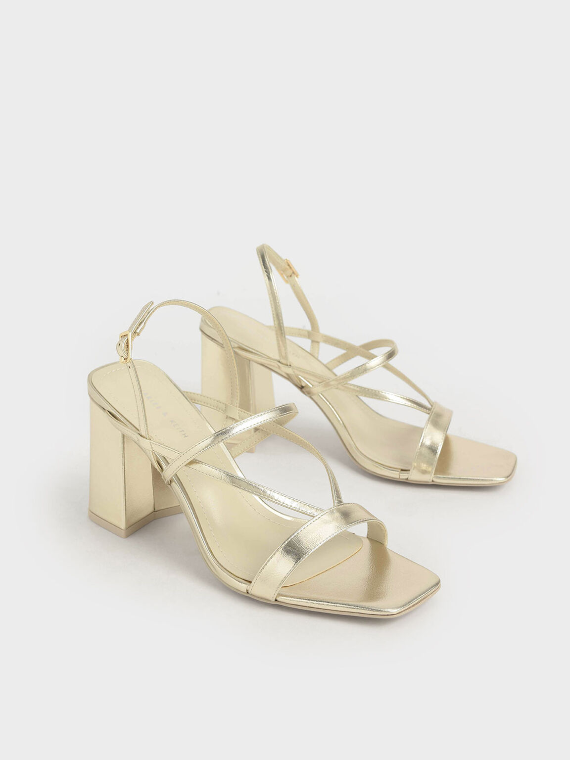 Metallic Strappy Chunky Heel Sandals, Gold, hi-res