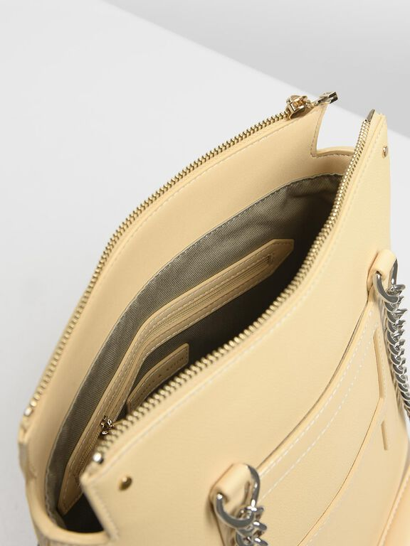 Long Chain Tote Bag, Yellow, hi-res