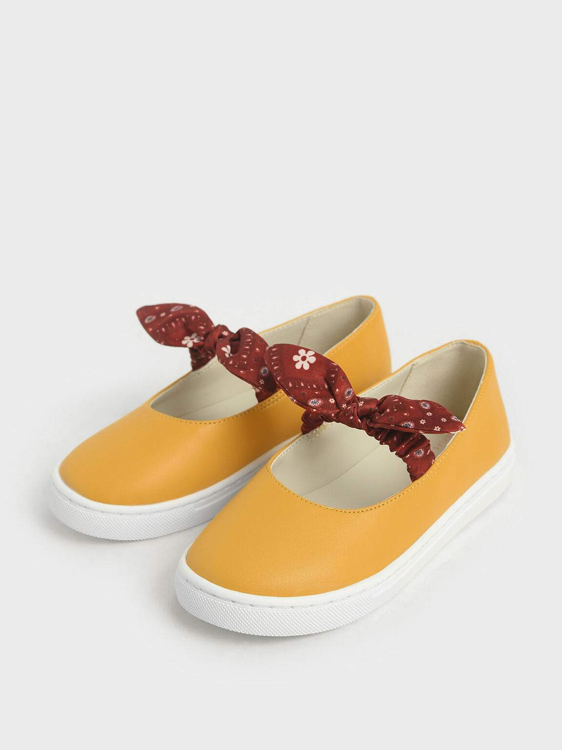 Summer 2020 Responsible Collection: Girls' Knotted Bandana Print Slip-On Sneakers, Yellow, hi-res