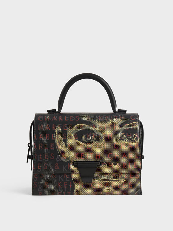 Graphic Printed Top Handle Bag, Black, hi-res
