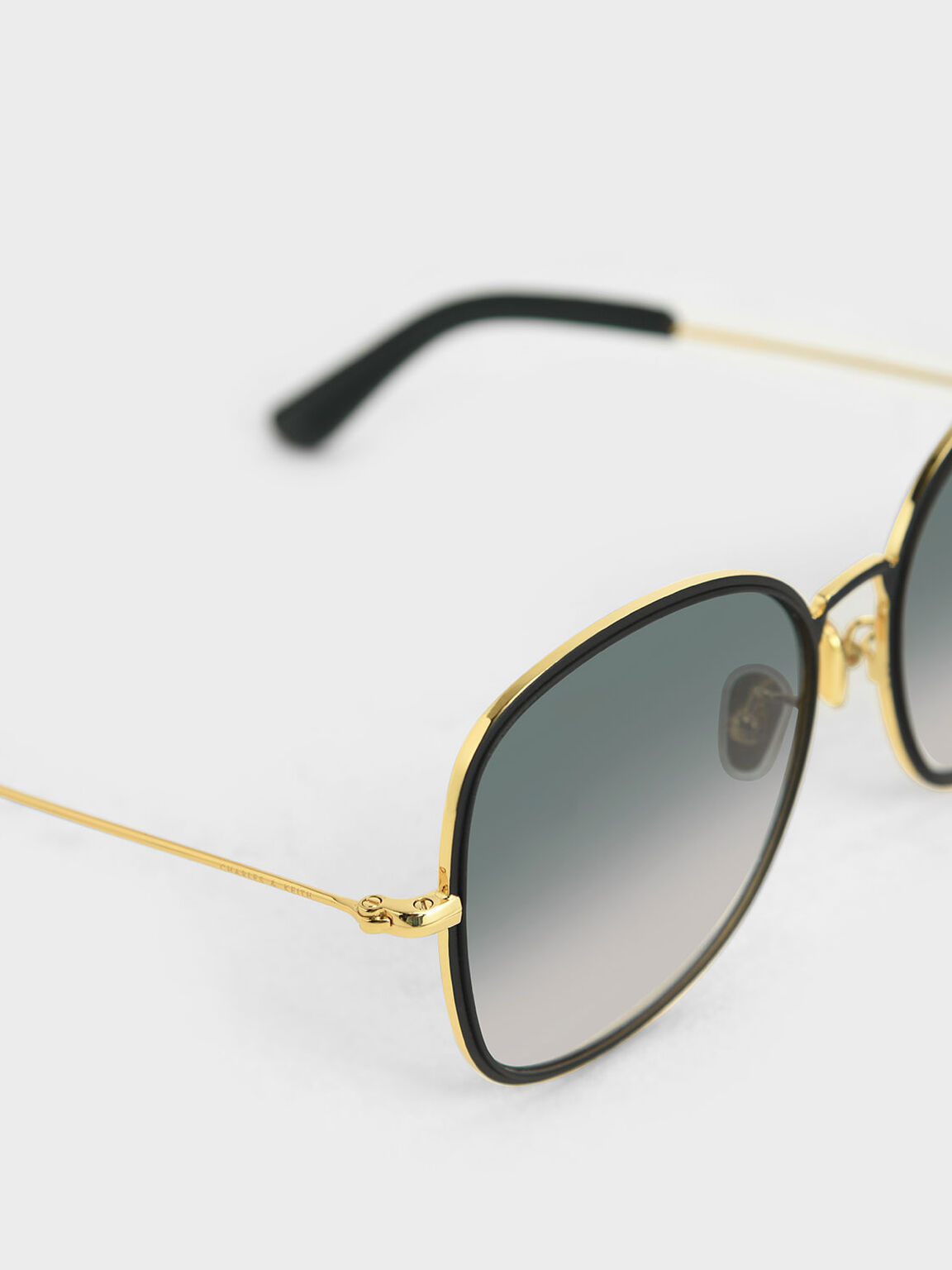 Gradient Tint Butterfly Sunglasses, Black, hi-res