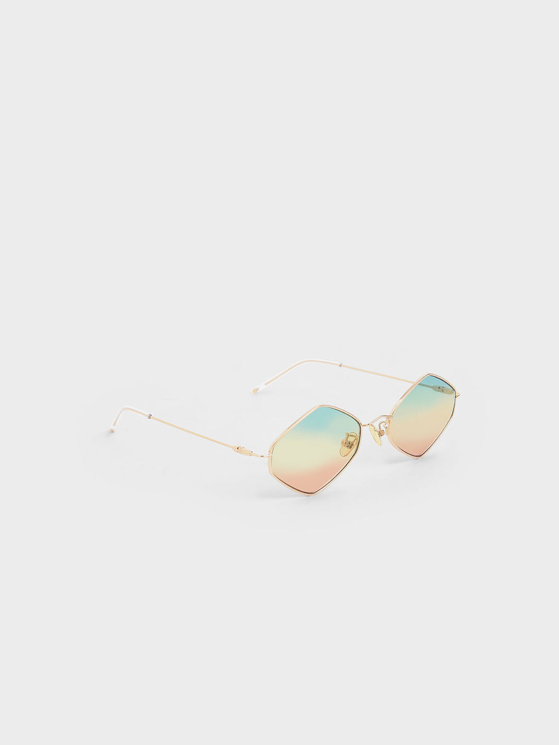 Thin Metal Frame Geometric Sunglasses, Multi, hi-res