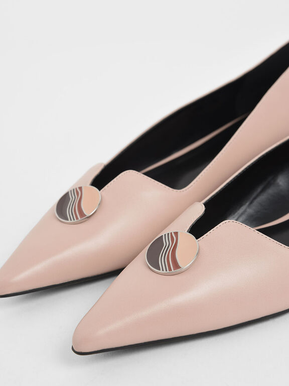 Button Detail Ballerina Flats, Nude