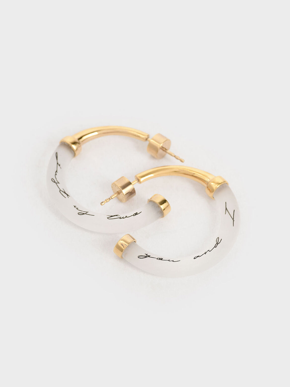 """Just Us Two, You And I"" Printed Hoop Earrings, Gold, hi-res"