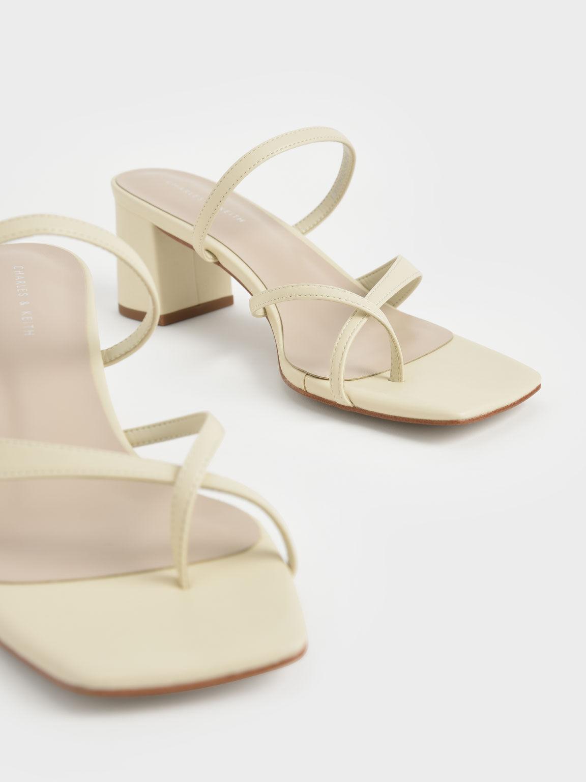 交叉帶夾腳涼鞋, 石灰白, hi-res