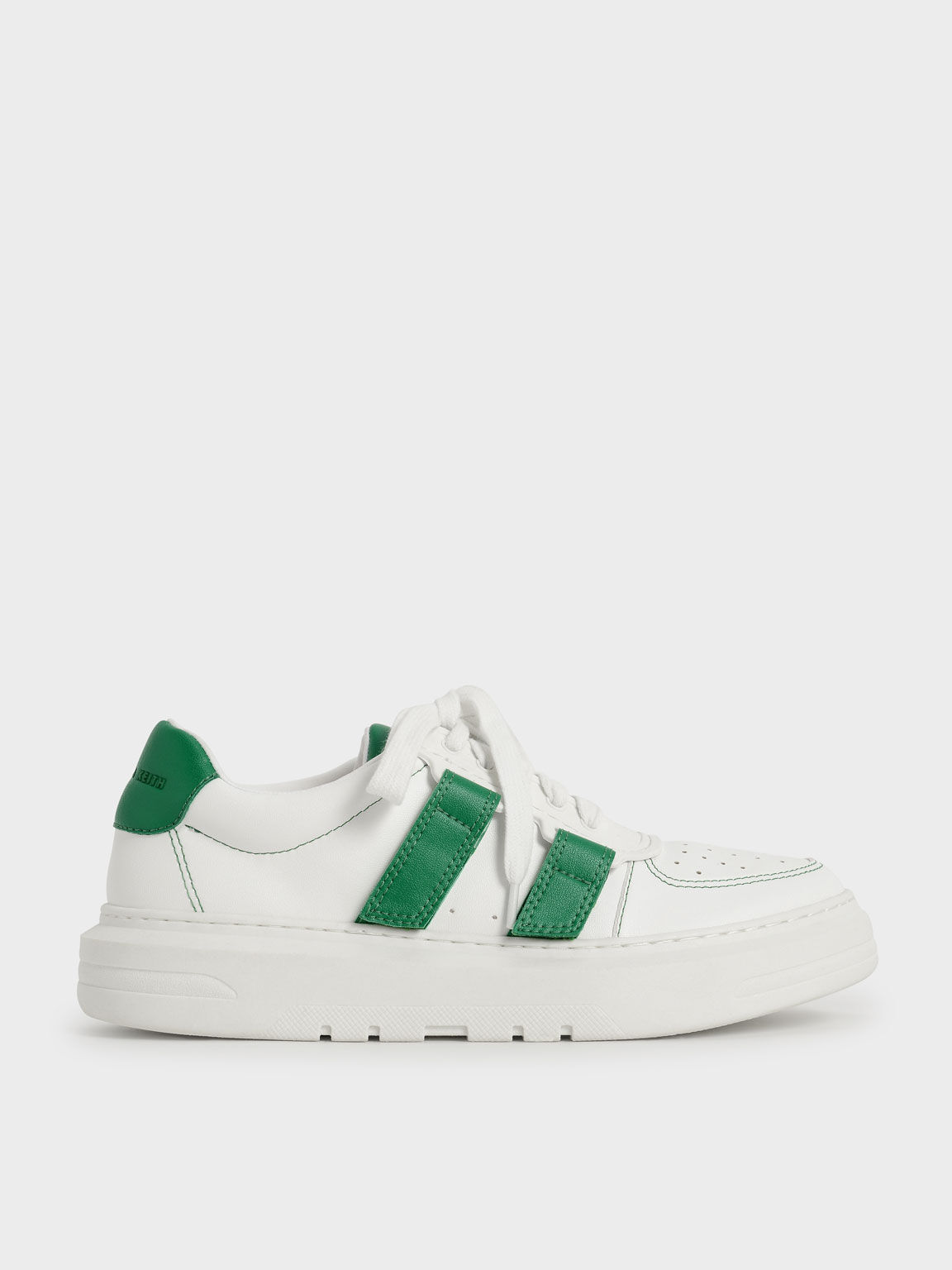 Lace-Up Velcro Sneakers, Green, hi-res
