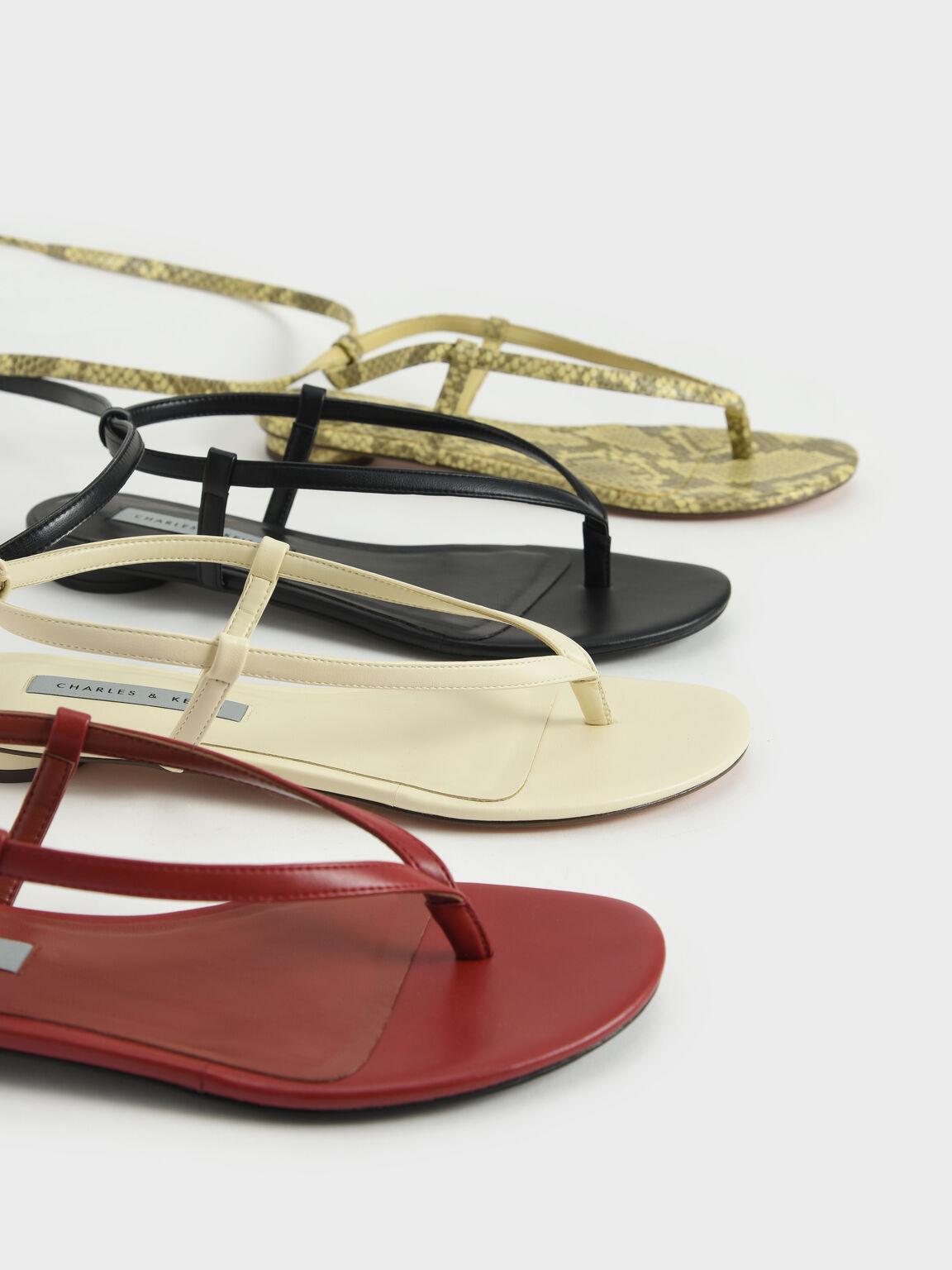Tie-Around Thong Sandals, Black, hi-res