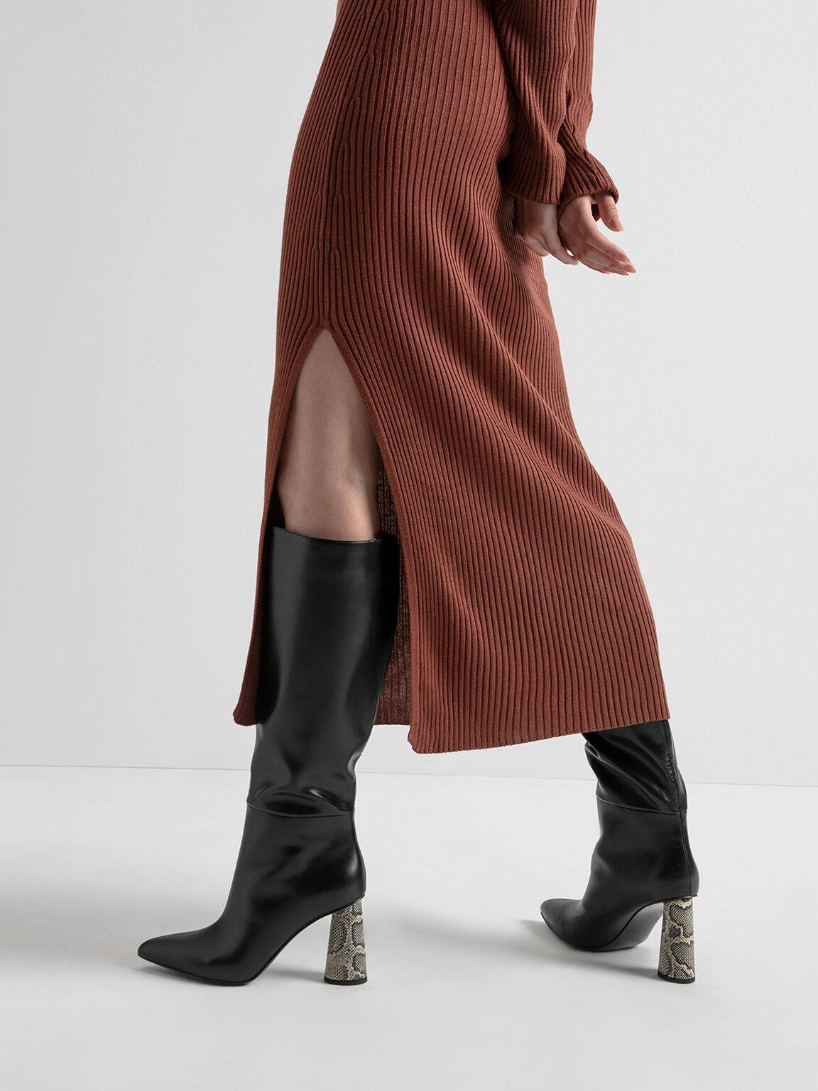 Knee High Heeled Boots, Black, hi-res