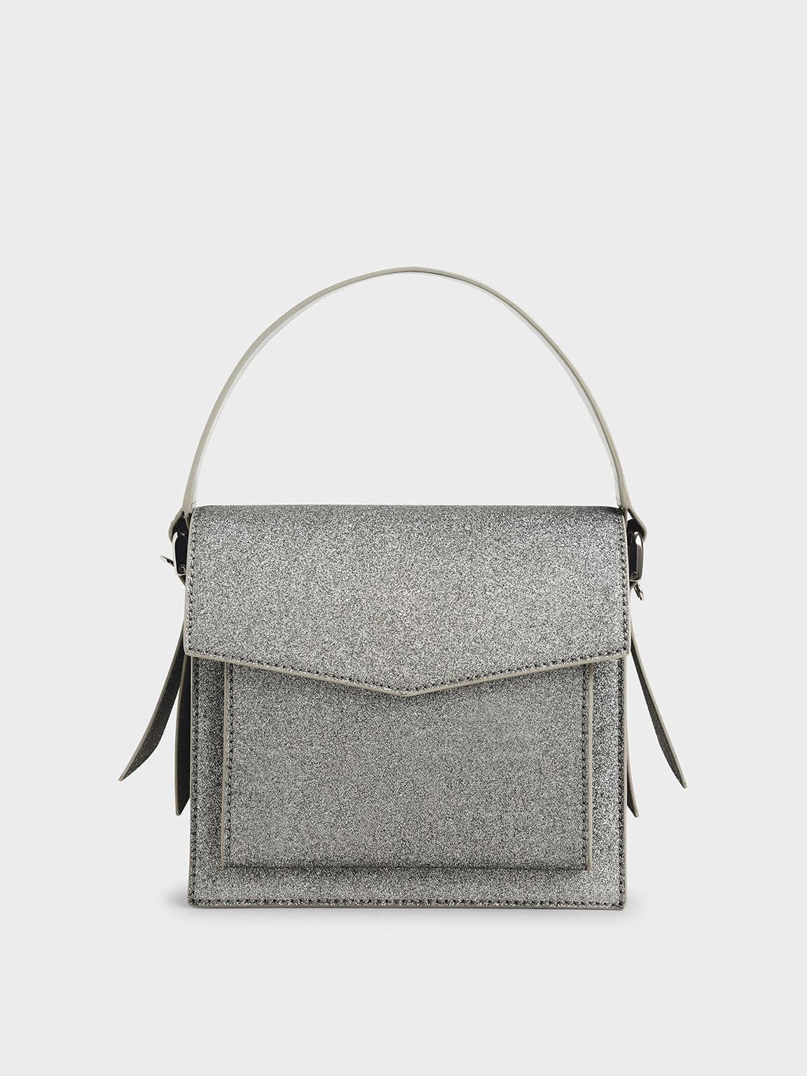 Glitter Top Handle Envelope Bag, Pewter, hi-res