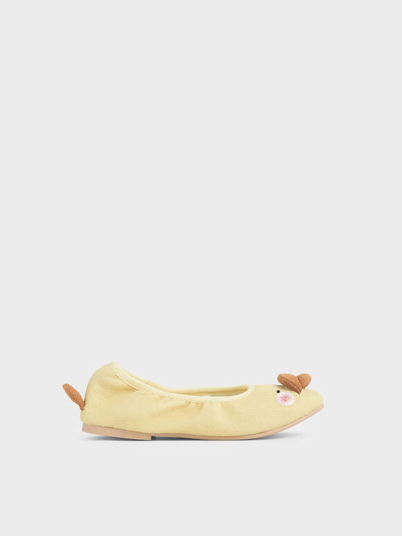 Girls' David The Duck Ballerina Flats, Yellow, hi-res