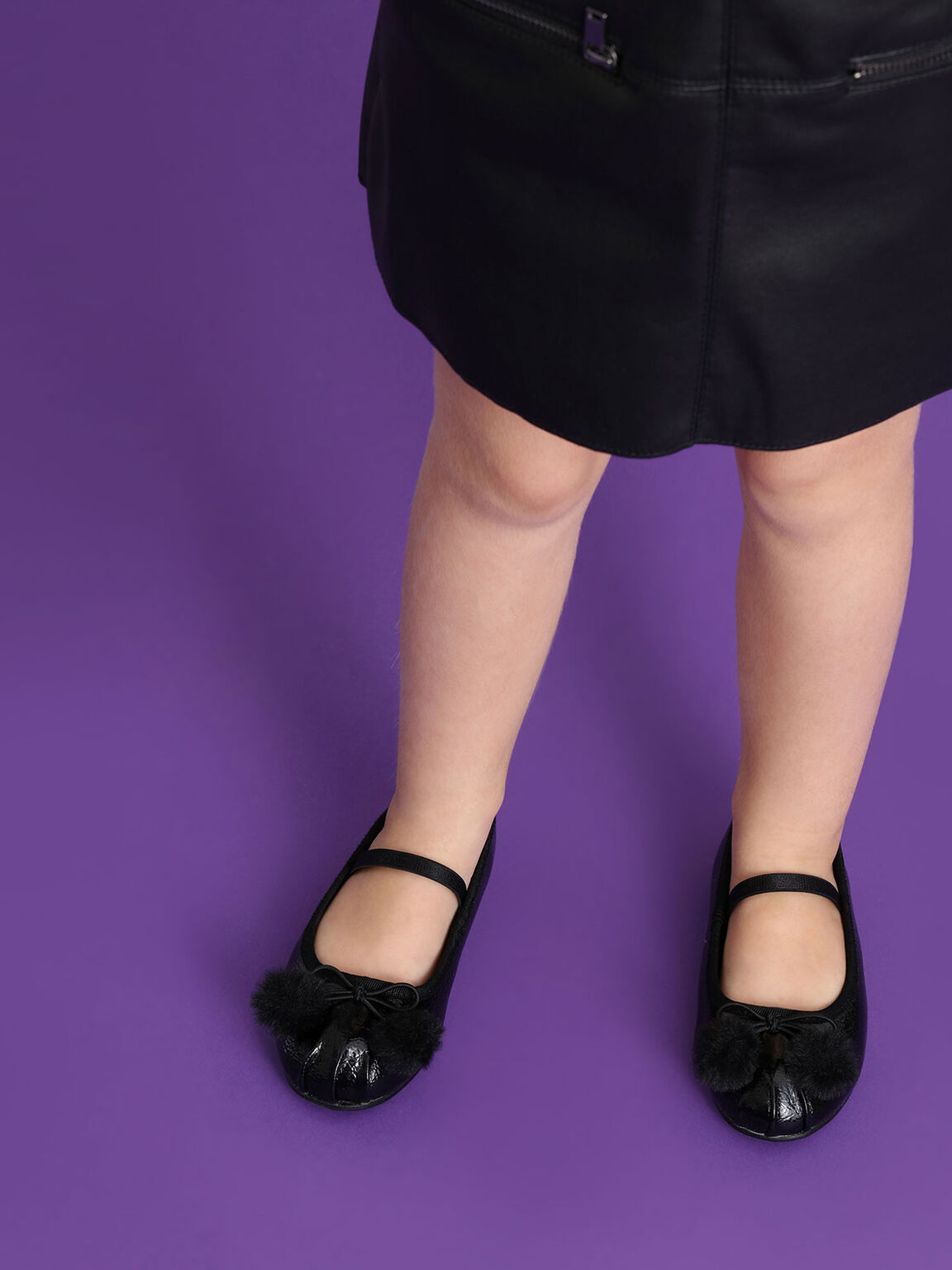 Kids Pom Pom Bow Detail Ballerinas, Black, hi-res