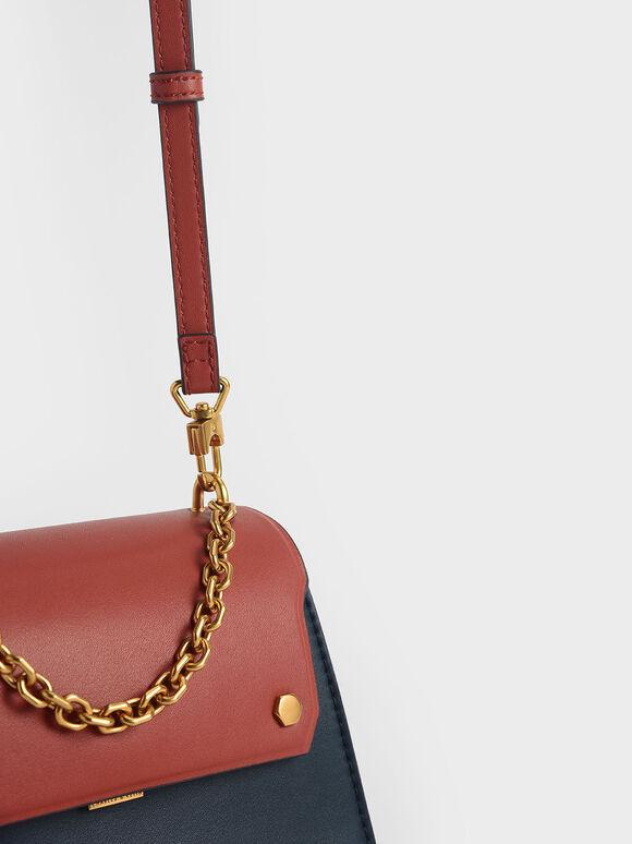 Two-Tone Chain Handle Crossbody Bag, Teal, hi-res