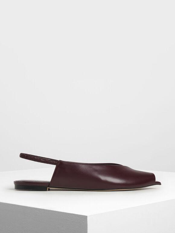 尖頭露趾平底鞋, 酒紅色, hi-res