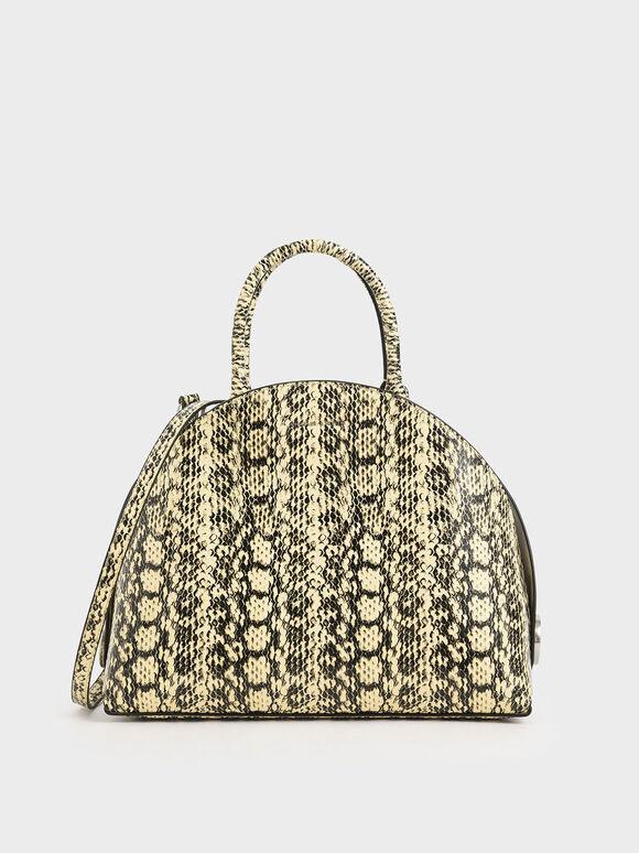 Large Snake Print Dome Bag, Yellow, hi-res