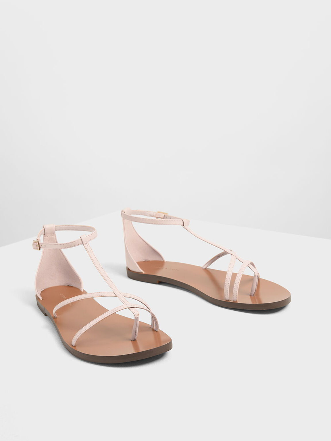 Asymmetrical Strappy Flats, Pink, hi-res
