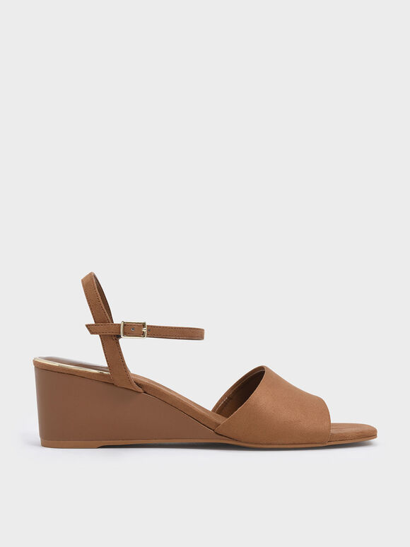 Ankle Strap Wedges, Brown, hi-res