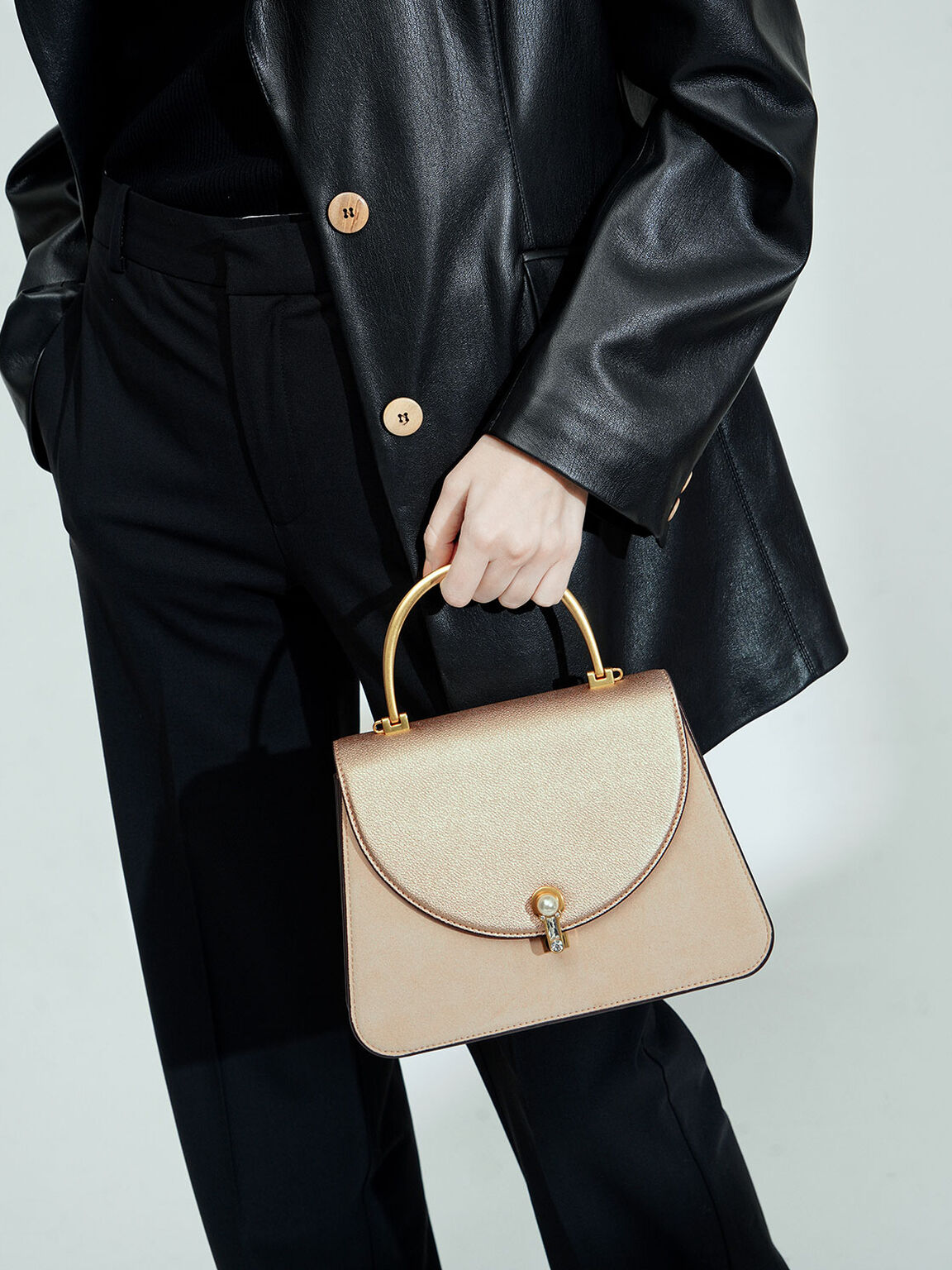 Textured Metal Top Handle Bag, Nude, hi-res