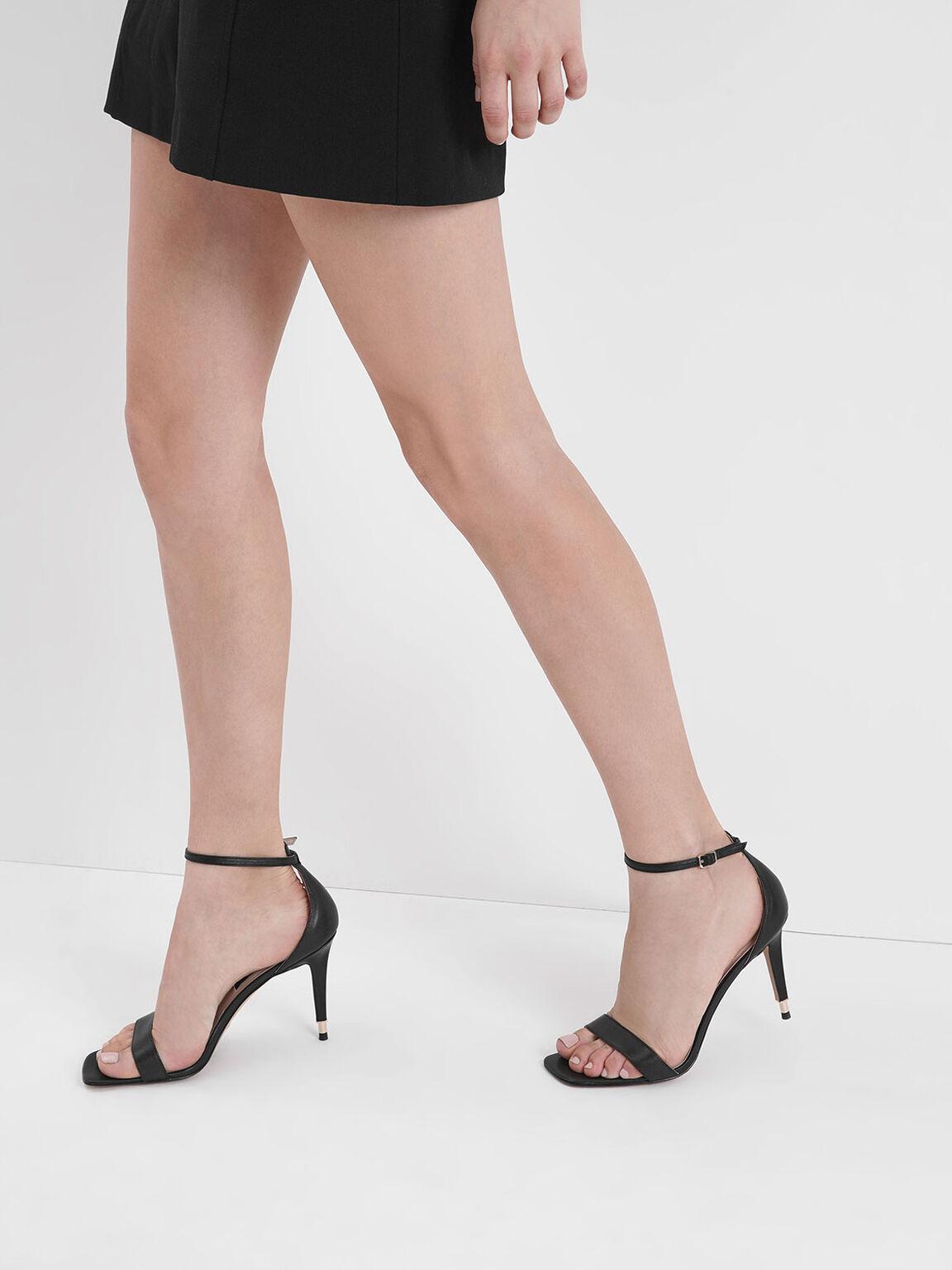 Leather Stiletto Heels, Black, hi-res