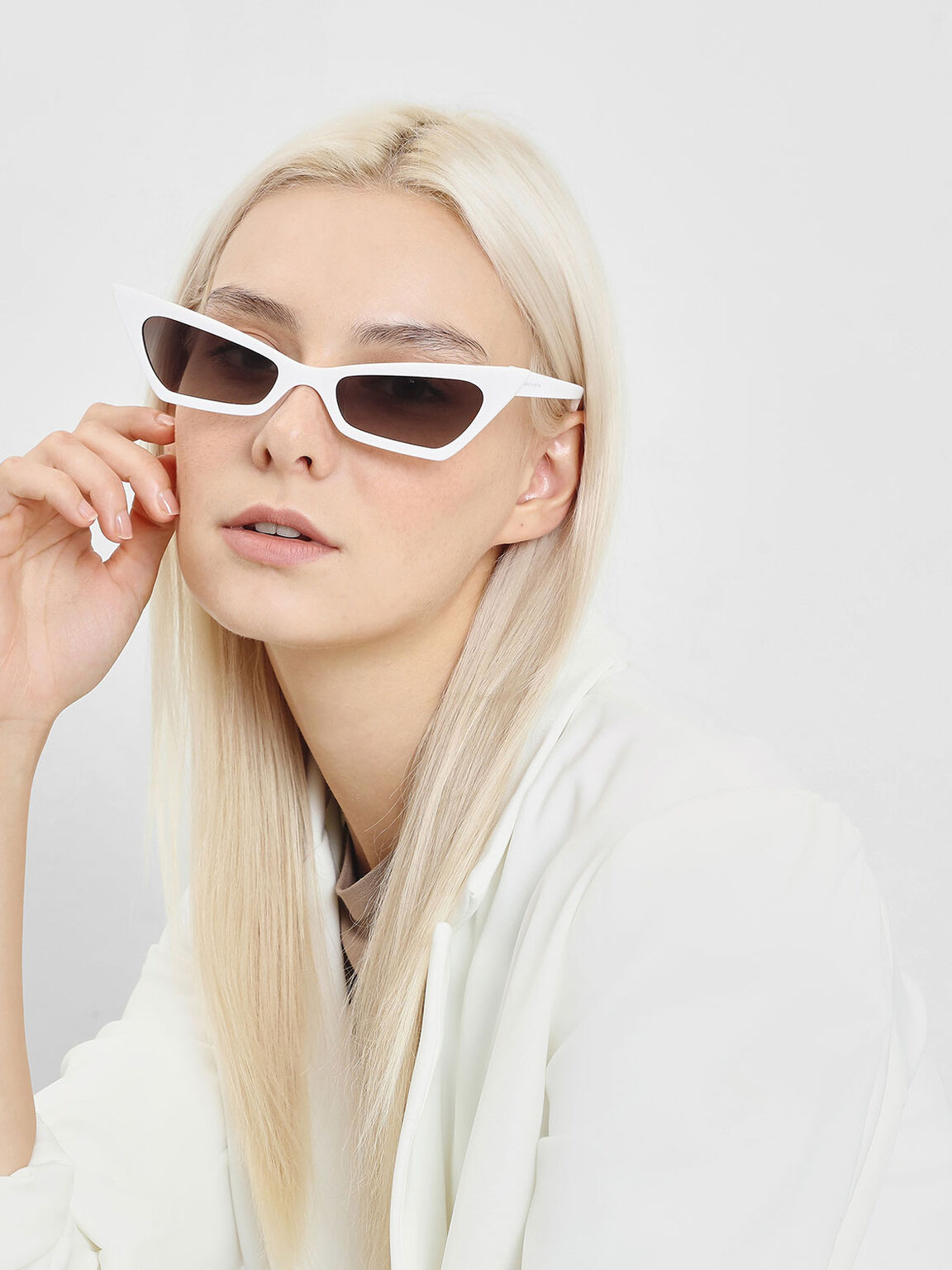Angular Cat Eye Sunglasses, White, hi-res