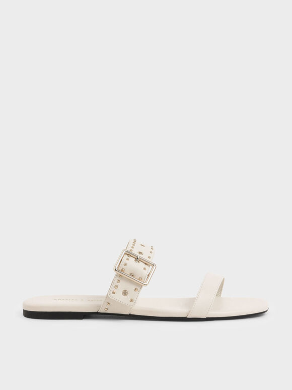Studded Slide Sandals, Chalk, hi-res