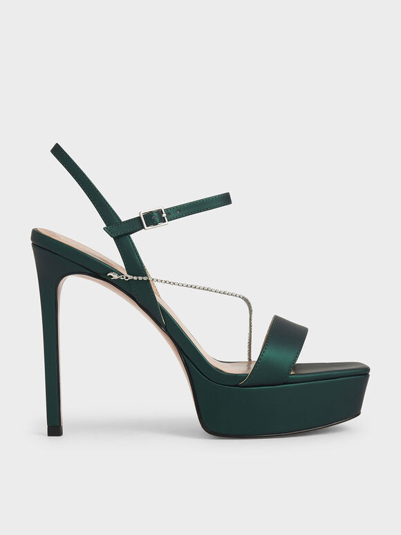 Metallic Effect Chain Link Platform Heels, Dark Green, hi-res