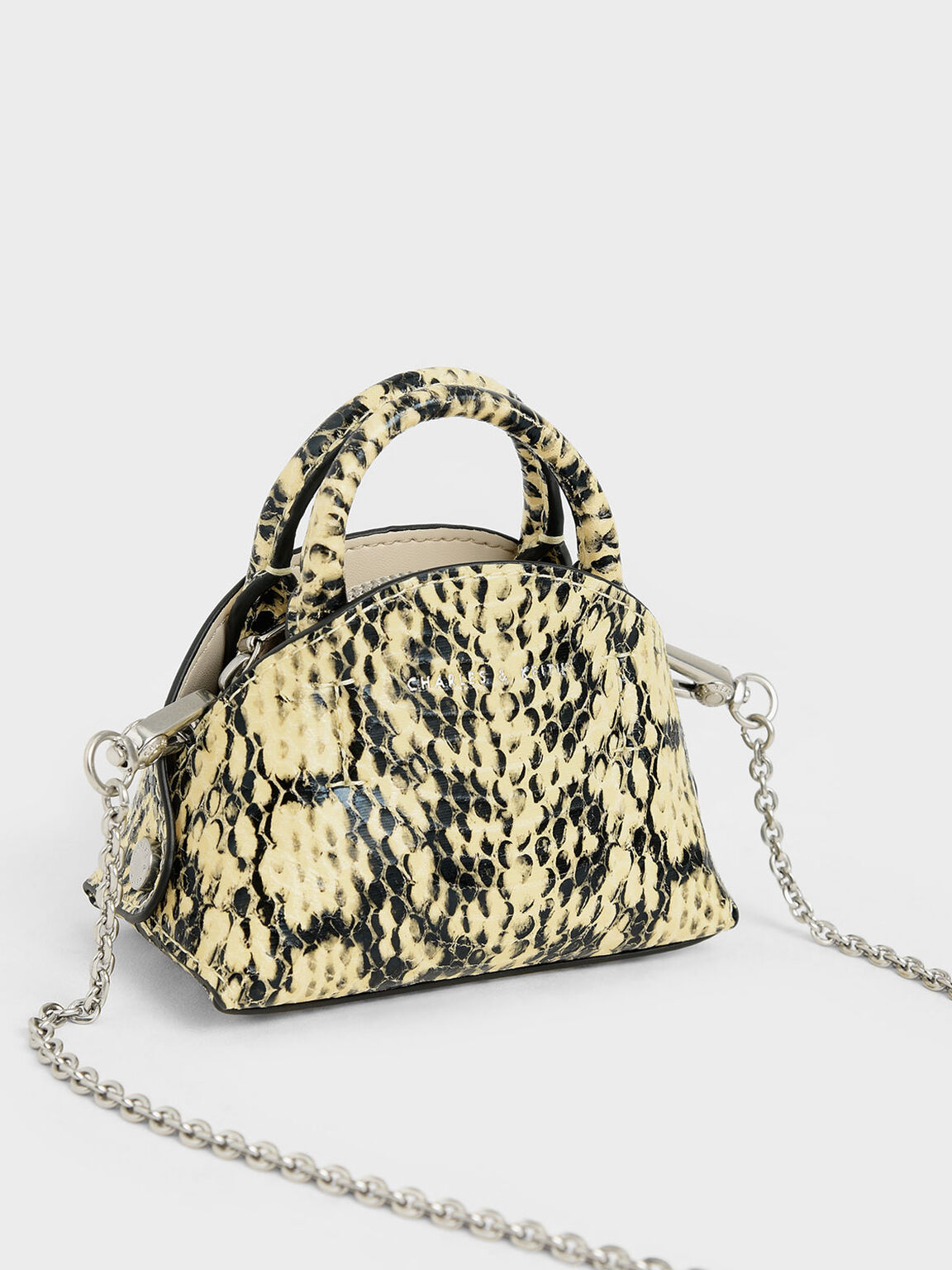 Snake Print Mini Dome Pouch, Yellow, hi-res