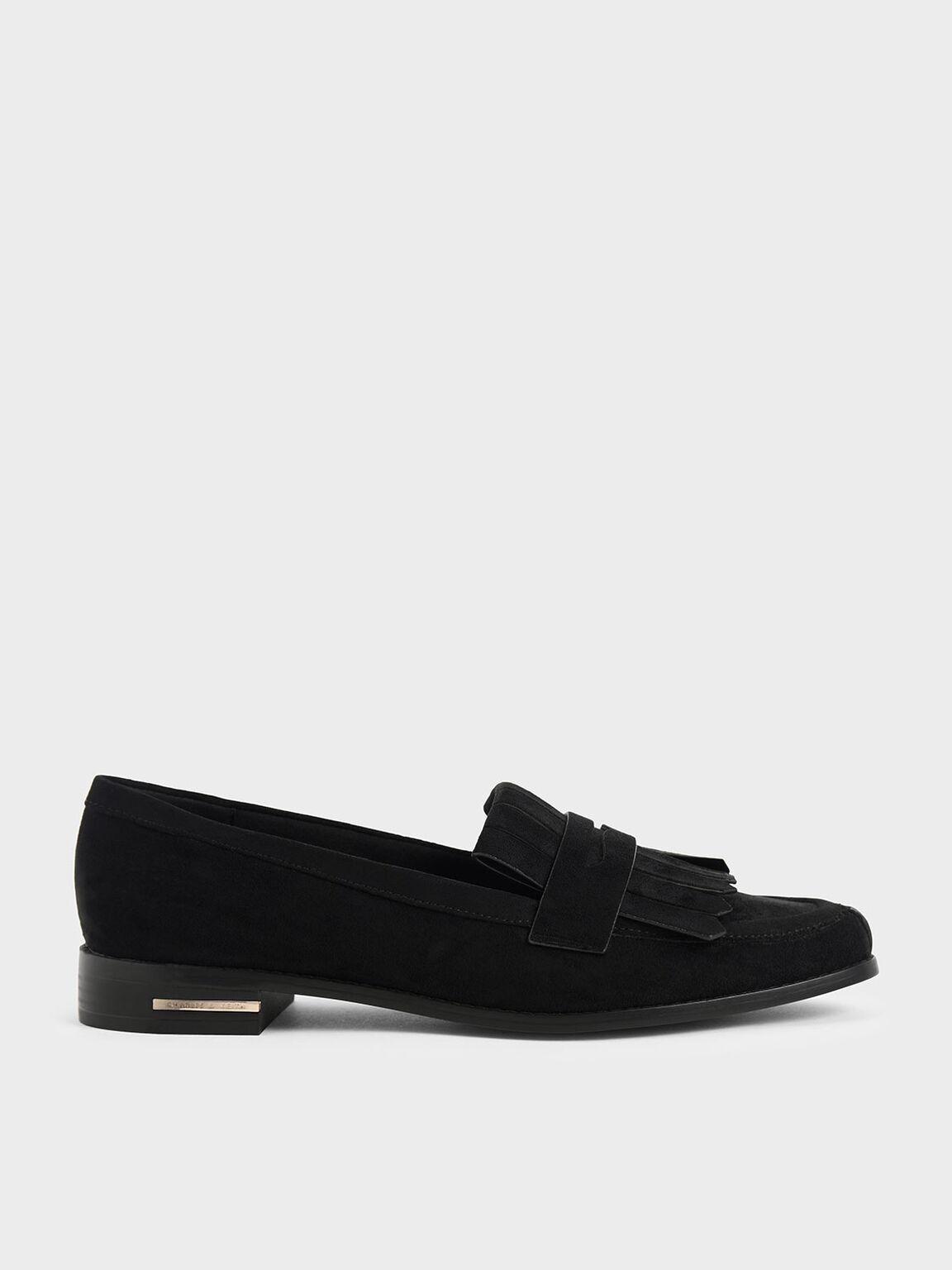 尖頭流蘇樂福鞋, 黑色特別款, hi-res