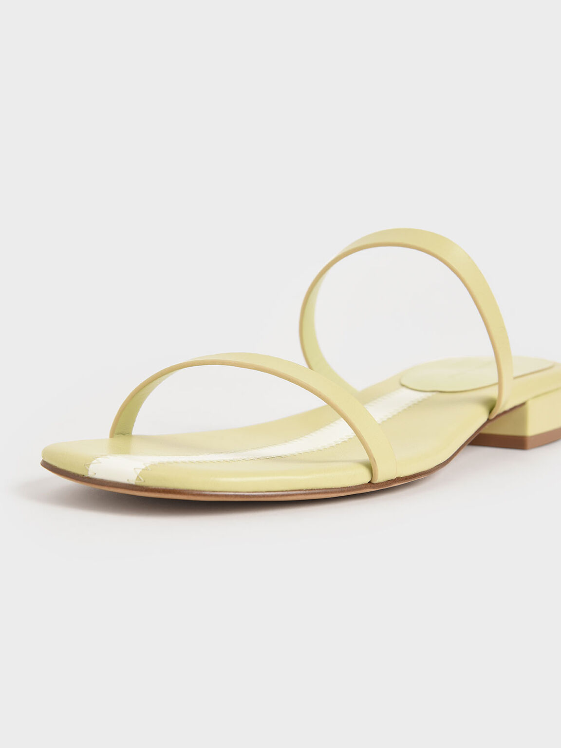 Striped Double Strap Slide Sandals, Yellow, hi-res