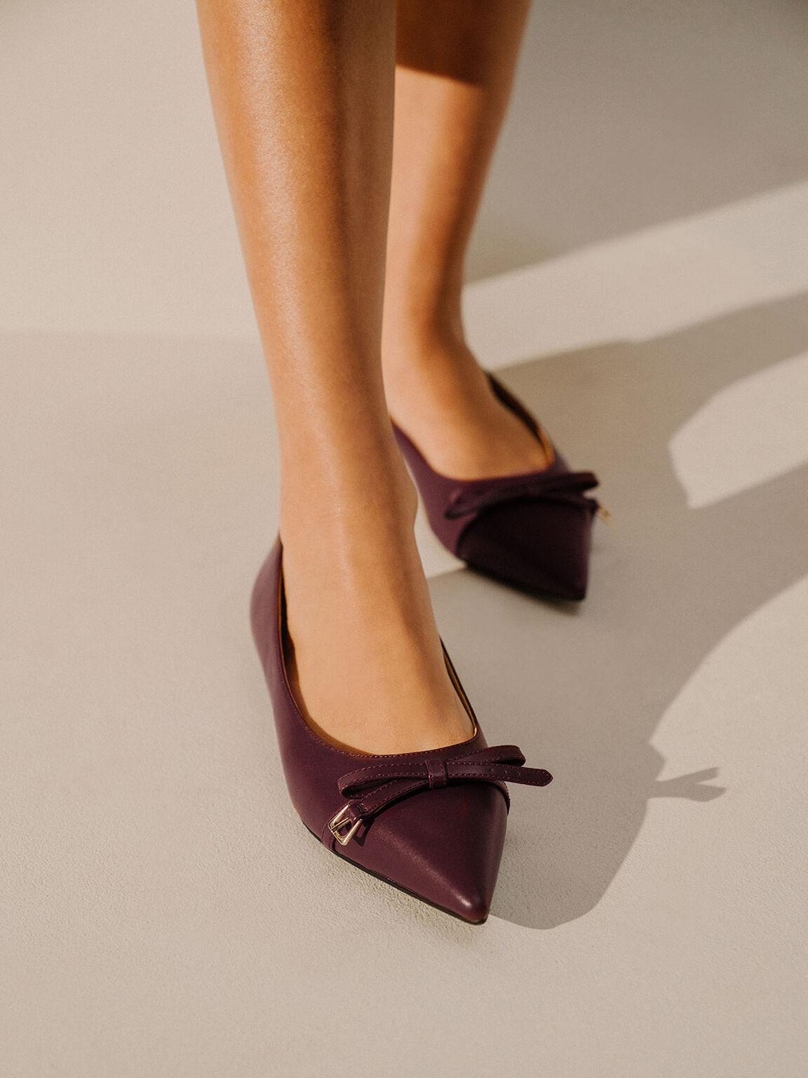 蝴蝶結尖頭芭蕾鞋, 棗紅色, hi-res