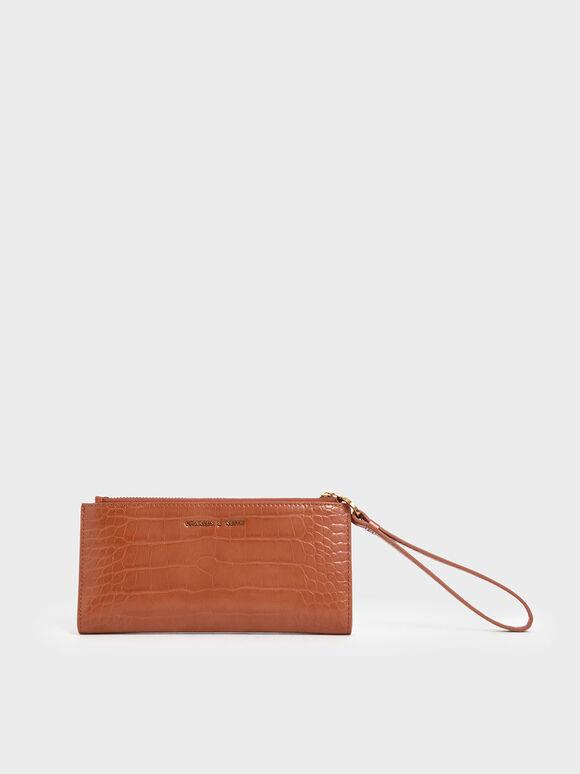Mini Croc-Effect Wristlet Wallet, Cognac, hi-res