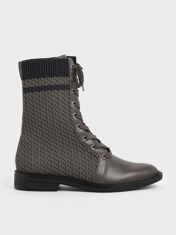 Knitted Lace-Up Calf Boots, Dark Grey, hi-res