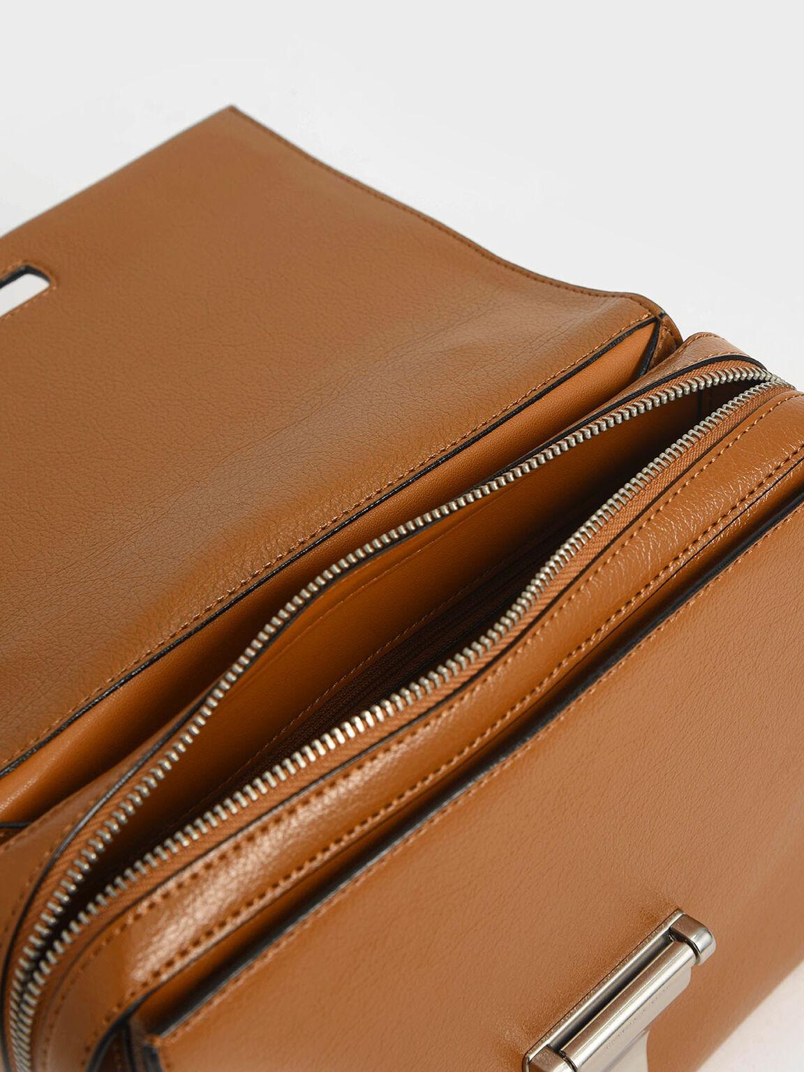 Metal Push-Lock Top Handle Bag, Cognac, hi-res
