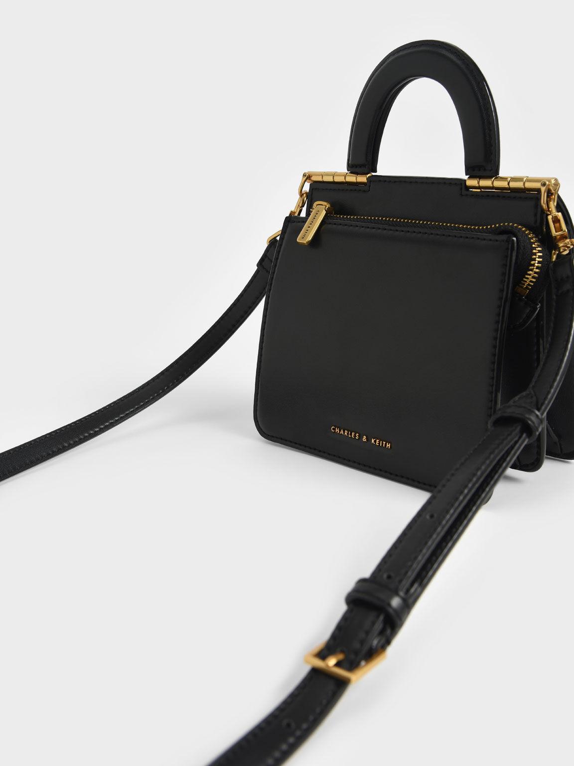 Top Handle Envelope Bag, Black, hi-res