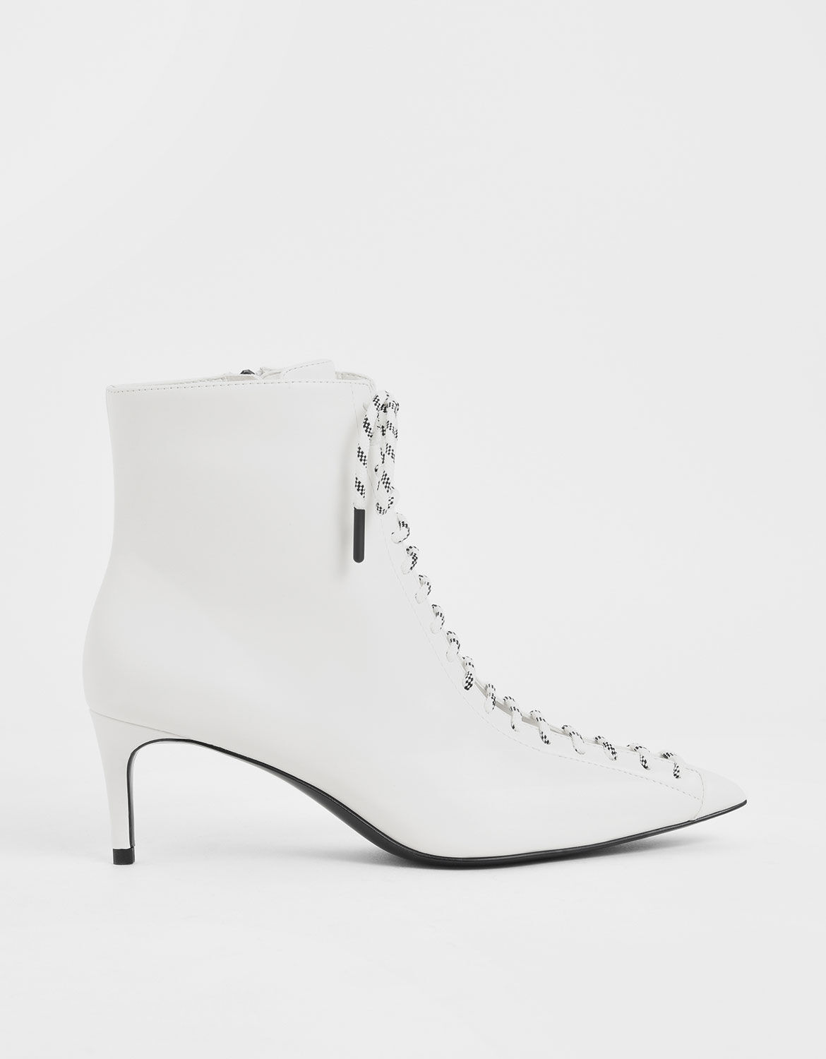 White Nylon Lace-Up Ankle Boots