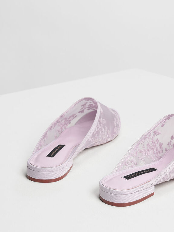 Floral Embroidery Mesh Mules, Lilac, hi-res