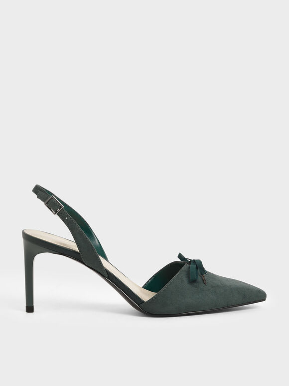 Ribbon Tie Textured Slingback Heels, Dark Green, hi-res