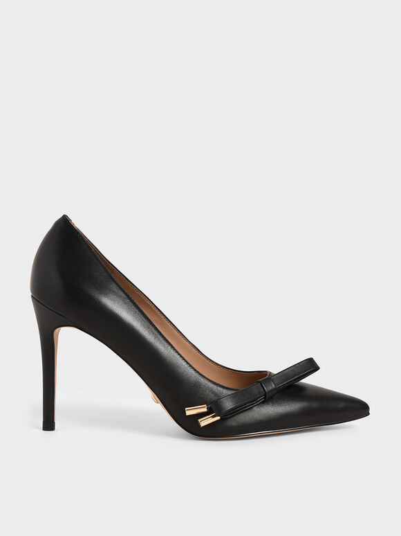 Leather Bow Stiletto Pumps, Black, hi-res