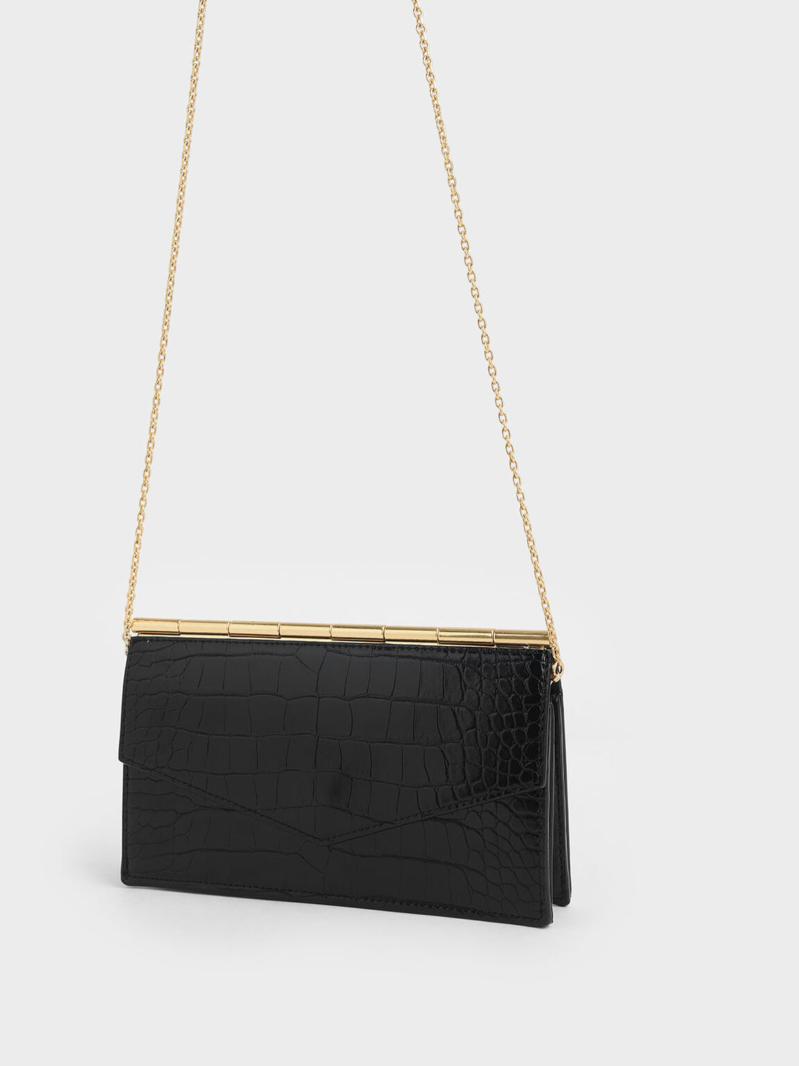 Mini Croc-Effect Long Envelope Wallet, Black, hi-res