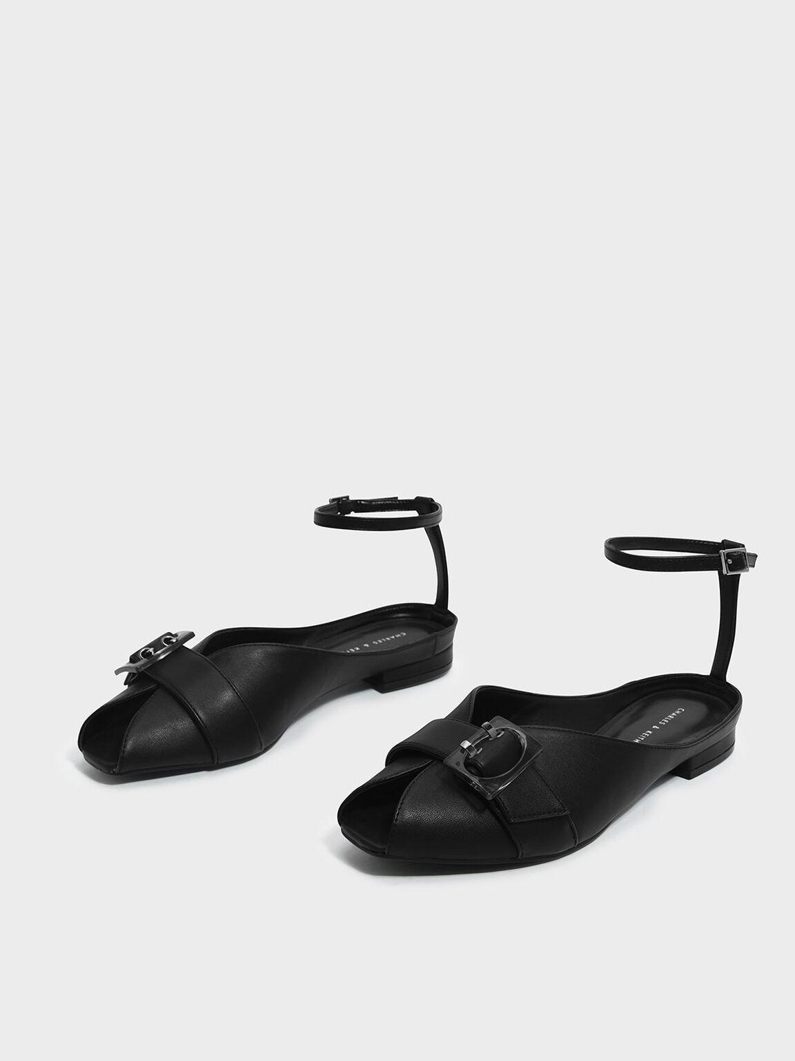 Ankle Strap Peep Toe Flats, Black, hi-res