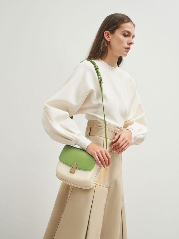 條紋方釦肩背包, 綠色, hi-res