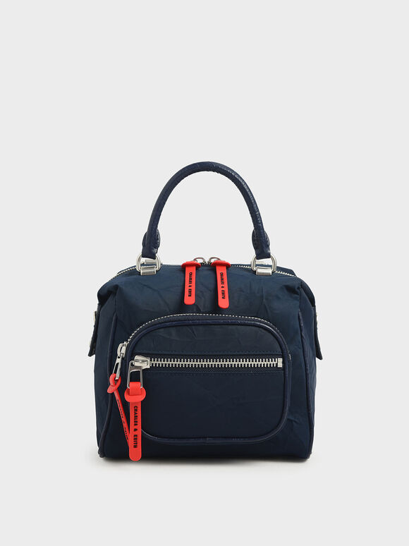 Nylon Front Zip Bag, Dark Blue, hi-res